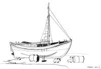 Kaiki im Hafen von Aegina, 1962