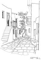 Verwinkelte Gassen in Noussa auf Paros, 1964
