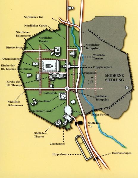 """Plan von Gerasa - aus dem Buch """"Jordanien einst und jetzt"""""""