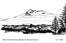 Blick auf den Mount Kenya vom Outspan Hotel, 12.11.1989