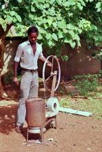 Im ITTU in Tamale, ein Schmiedeofen, 1987