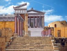"""Der Tempel des Zeus im Originalzustand (aus """"Jordanien einst und jetzt"""")"""