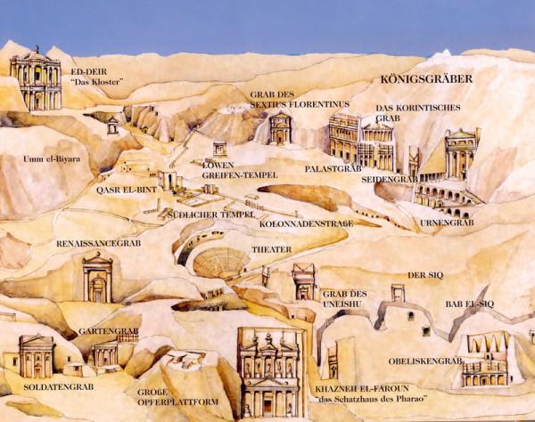 """Plan von Petra aus """"Jordanien - einst  und jetzt"""""""