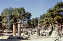 Heräion in Olympia mit Blick auf das Gymnasium