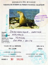 Nationalpark Ticket für ie Galapagos Inseln, 8.10.1986