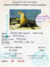 Nationalpark Ticket für ie Galapagos Inseln, 8.10.1986