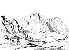 Letzte Skizze der Regensburge Hütte mit dem Langkofel, 1988