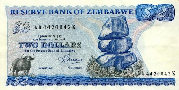 Zimbabwe 2-Dollarnote, Vorderseite, 1983