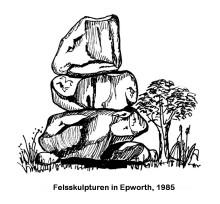 "Skizze der ""Balancing Rocks"" in Epworth, 1985"