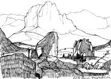 Blick zum Langkofel von den Cisle Steinen, Oktober 1985