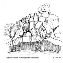 Felsgruppe in den Matopos Bergen, 1.9.1999