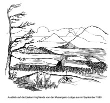 Ausblick von der Musangano Lodge in den Eastern Highlands, 3.9.1999