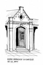 Eingang vom alten Bahnhof in Karibib, 15.3.