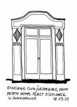 Tür vom alten Hotel Bismarck in Swakopmund, 8.3.