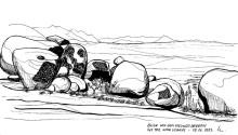 Blick ins Tal vom Erongo Gebirge, 15.6.1992