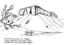 Ausblick aus meinem Chalet in der Vingerklip Lodge, 19.9.1999