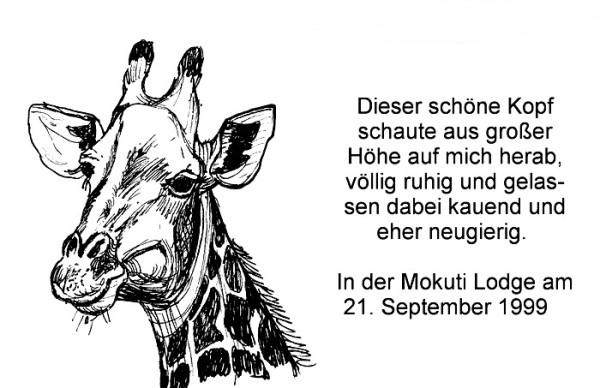 Giraffenbesuch in der Mokuti Lodge, 21.9.1999