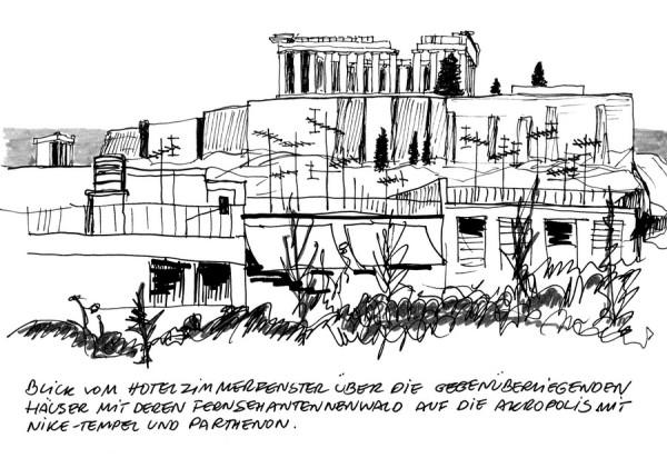 Blick vom Hera Hotel auf die Akropolis, 14.6.1991
