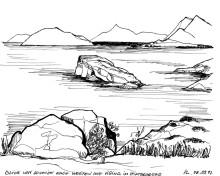 Küste vor Sounion mit Blick auf Ägina, 8.9.