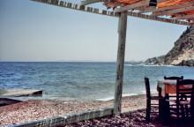 Ausblick von der Taverne in der Psiliamos Bucht, 6.6. 1994