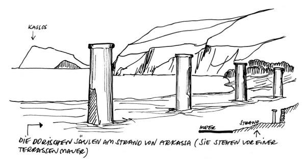 Die Reste dorischer Säulen am Strand vor Arkassa