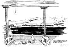 Fisch Restaurant oberhalb der Agriolivado Bucht, 21.6.