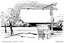 Taverne in der Psiliamos Bucht auf Patmos, Juni 1991