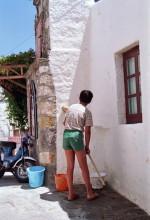 """Das """"Wändeweissen"""" auf Patmos, Juni 1991"""
