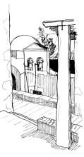 Glockenturm der Einsiedelei in der Thermia Bucht, 29.6.