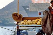 Schwammverkäufer im Hafen von Skala, Juni 1994