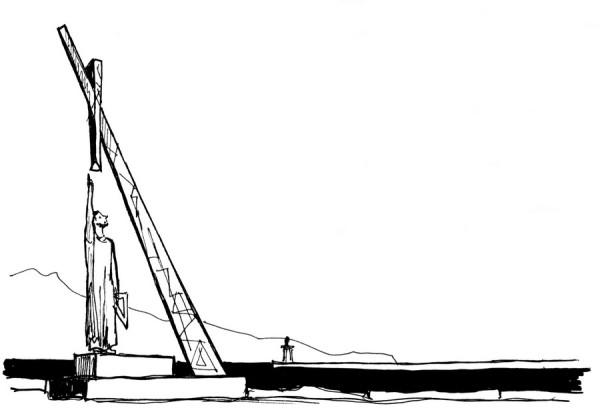 Das Pythagoras Denkmal in Phytagorion auf Samos, 1.7.1991