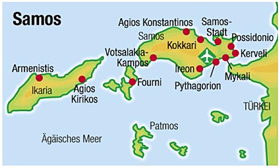 Karte von Samos und Ikaria