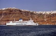 Fährschiff auf dem Weg zum Hafen von Athinios, 23.6.