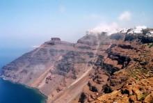 Aufsteigender Nebel zum Abschied von Santorini, 30.6.1996