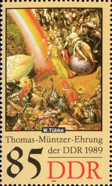 Ausschnitt aus dem Panoramabild von Tübke, 85 Pfg. Briefmarke der DDR, 1989