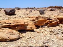Versteinerter Lehm und Basalt Brocken hinter Gai-As