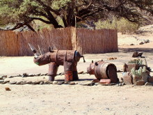 Rhinos aus Blech im Rhino Camp