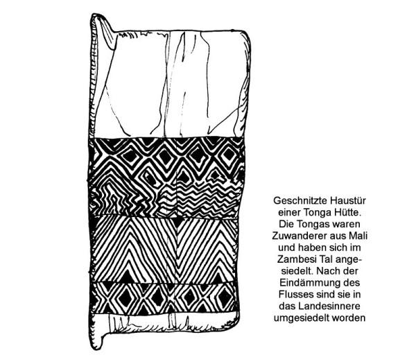 Eine Tonga Tür, vorwiegend mit Ellbogenmustern verziert