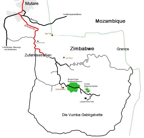 Umgebung der Vumba Gebrigskette und des Botanischen Gartens