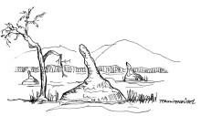Termitenburgen auf dem Weg zur Vingerklip Lodge, 1999