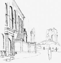 Das Johanneum mit der Ruine der Frauenkirche, 1954