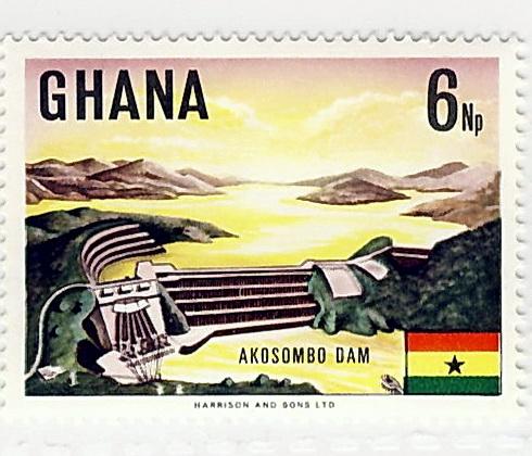 Briefmarke mit Akosombo Damm
