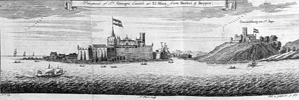 Die Burg Elmina und das Fort Jago, 1769 (Wikipedia)