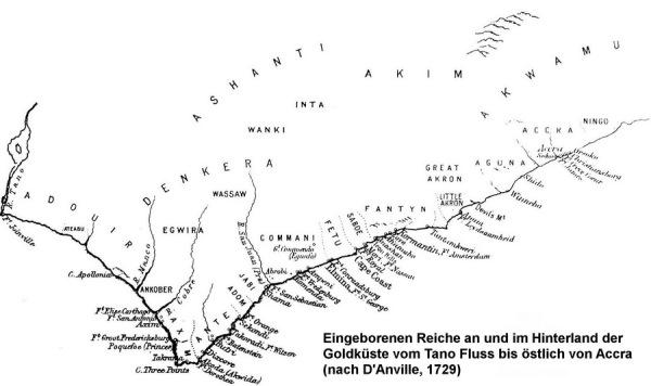 Ethnien entlang der Goldküste und im Hinterland, sowie Standorte der Festungen nach D'Anville, 1729
