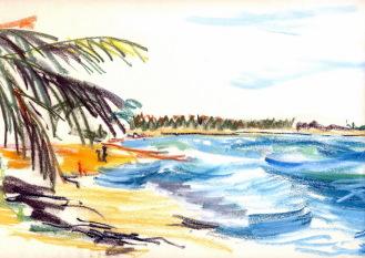 Ghanas Küste bei Elmina, Kreidezeichnung, 1978