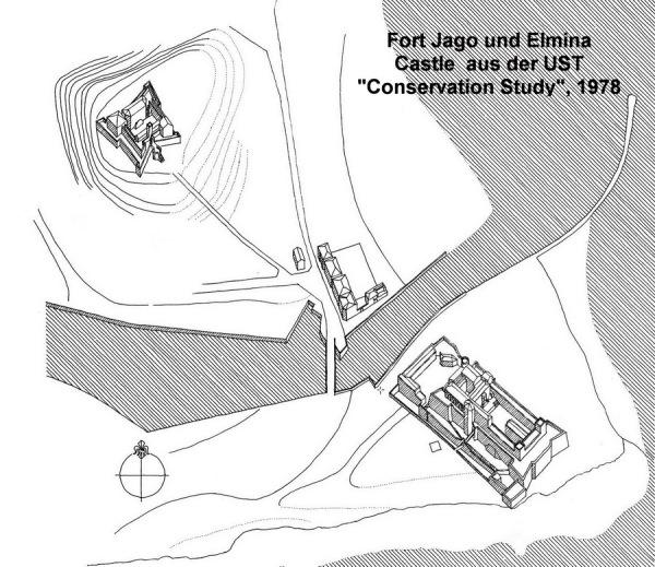 """Burg Elmina und Fort St. Jago (""""Conservation Study"""", Architekturfakultät, UST, Kumasi, 1978)"""