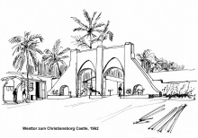 Westtor vom Christiansborg Castle in Accra, 1962