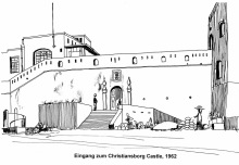 Eingang zum Christiansborg Castle in Accra, 1962