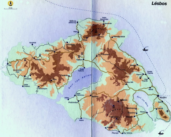 Karte von Lesbos