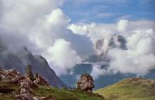 Der Langkofel in Wolken, 27.6.